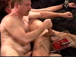Dude in leg and feet checks gets his cock and tripe smashed by his master
