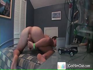 Dude busting his nuts on bed wits gothimout