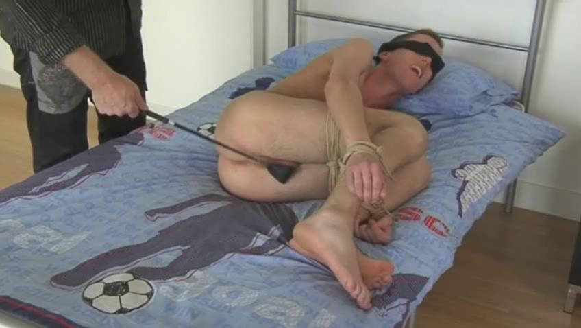 Tow-haired gay dude gets blindfolded and spanked with a horse whip