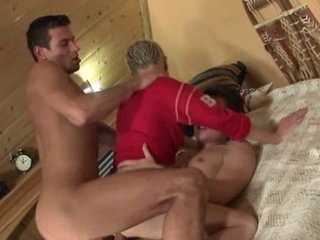 Cutie fucked with two dicks