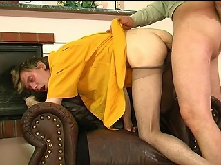 Lewd guy in shiny underpants giving hot pantyhosejob aching for hardcore...