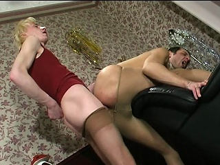 Steamy guys in lacy tights attracting wild pleasure immigrant their well-hung...