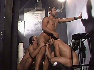 This gay organize bang starts with three buffed hotties in one room...