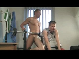 Young gay nuisance fucked in gym