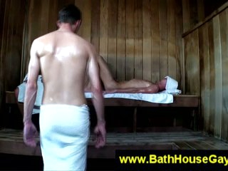 Uncaring dirty action in sauna