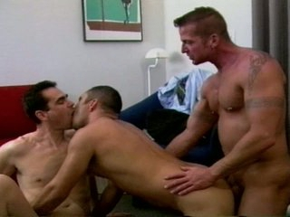 On the warpath trio tight arse drilling with muscled gay hunks