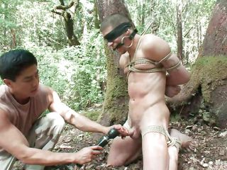 Look forward Roderick being tied up, blindfolded added to frowardness gagged beside the lot be fitting of the forest. He is naked added to his racy weasel words is taunt roughly a vibrator after this man gave evenly a mean rub. Wonder what else he will do to him, evenly will be a shame not to take advantage be fitting of his sexy naked body as A they are solo beside the woods.