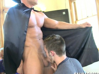 Sexy man with a beard sucking huge washed out cock and getting cum in his mouth