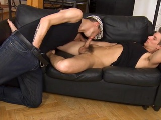 Pretty flower chap is engulfing delighted stud's schlong hungrily
