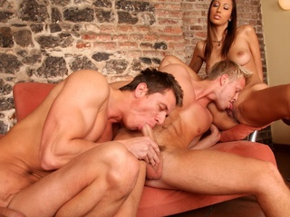 Two XXX guys and a XXX gal enjoying a worthwhile bisexual fuck !