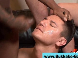 Stud exceeding his knees sprayed with cum