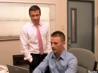 Gorgeous gay gets ass banged all over the office segment