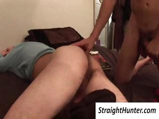 Gay dude abuses his tired straight roommates cock and licks his ass without waking him