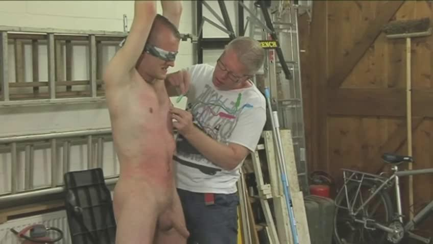 Sexy gay hunk gets tied blindfolded and eaten up