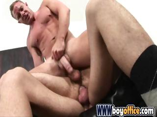 Office studs skewering their gay buddy with their large cocks