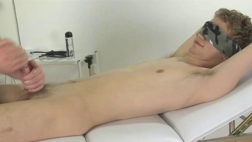 Blindfolded delighted small fry gets his dick wanked good