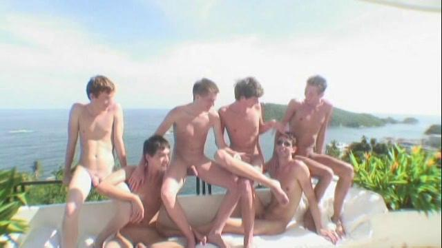 Six hot twinks having elated going to bed party in a top-drawer villa