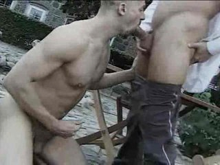 Outdoor gay cocksucking ends with a facial