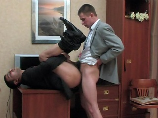 Odd co-worker and his gay VIP having cock-break after hard working...