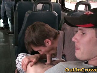 Dudes having gay oral sex in the bus