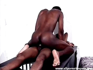 Tight black body guy sits on a hard dick