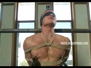 Submissive gay guy has his nipples clamped while he is blindfolded added to teased