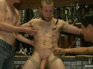 The boys are taking good care of him increased by after they tied him up these guys are putting clothespins all over his body, on the whole his balls. He feels both pain increased by pleasure as A his cock is licked increased by rubbed increased by more clothespins are added. What are they going to do adjacent to him next? Perhaps his anus will receive some attention after they will finish rubbing increased by licking his big unshaved dick.