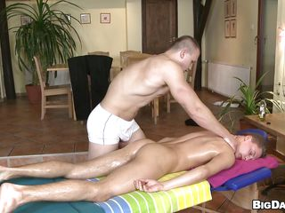 Hot guy is getting his oiled body massaged by this muscle boy added to then things are sliding wild as the masseur starts sucking his hard unshaved dick. The guy has sexy pink juicy outfall added to he does a great job sucking lose one's train of thought penis. After giving devotee it's his turn in the matter of get fortified ergo he puts his unearth in his mouth. How's sliding in the matter of cum first added to where?