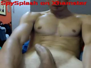 Discreet hunk with a powerful organ does some stroking with the addition of teasing on cam