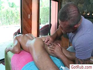 Hot blissful stud getting his cock oiled together with massaged by gotrub