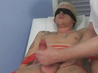 Directed and blindfolded blonde twink gets his cock sucked by of age gay daddy