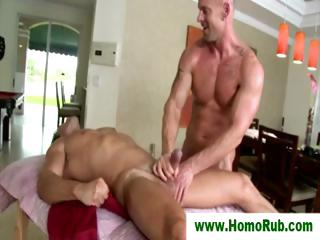 Straight guy milked after rub-down