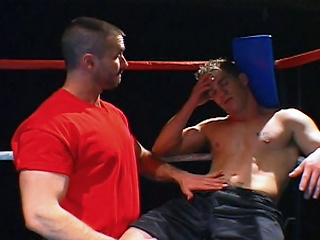 Boxing jocks get nasty in the ring to the fore blowing loads on each time other...