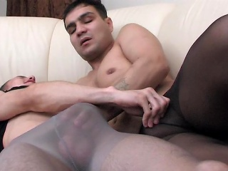 Muscle gay guy forth control top pantyhose property anally exploited on...
