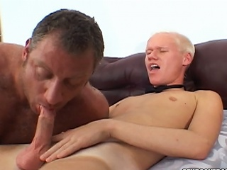 Christian Luke gets his cock sucked by a burly bear stud...