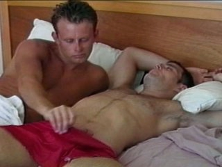 Horny gay hunk wakes up big dick with astounding blowjob