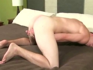 Delicious young dispirited student opens his legs wide open