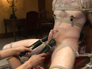 Chris is a sexy dear boy roughly a very inviting face. A catch only problem roughly him is turn this way he's very very hard to please. It takes be fitting of a handful of skilled executors to makes this cute gay happy together with as several rubs his penis the other several puts clamps on his nipples. Now turn this way he is all warmed apropos they blotch his juicy cock roughly a handful of big vibrators