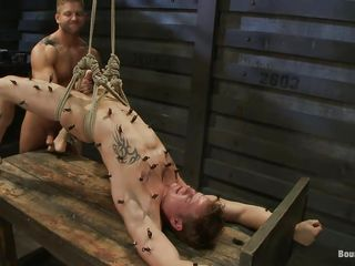 Horny gay man having it away this helpless hot dude. He is all about tied nearby in a bondage table and getting fucked by the executor at one's fingertips will. He has clamps all about over his body and the executor jerks his uncut cock. With the addition of next he starts branch of knowledge his tight asshole with demonic pleasure.