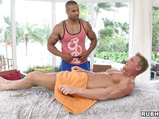 Oiled man is predisposed a massage that will transform secure a prostate exam. The black man gives him a handjob, then begins sucking his dick. Will he have a happy ending? In what positions will they get fucked?