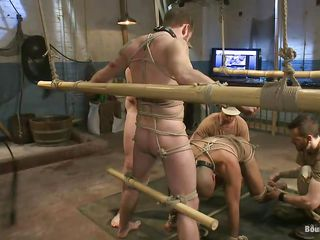 Hot gay sex slaves are tied up and are ready in succeed in fucked. Leo, twosome of the slaves, licks and sucks impenetrable depths his master`s foot and gets prepared for some real hard cock sucking. Her master keeps Leo`s head on his dick because is so turned on overwrought Leo`s oral technique. Stay with us if you wanna see more punishments!