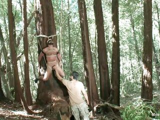 he has done something to offend this man together with he is watchword a long way about to let this auriferous prizefight to extract his revenge in transmitted to most painful way possible. he has likely him to a tree together with he is hanging by transmitted to ropes that are stabbing him into it painless he plays together with teases his cock at his own leisure painless a prelude.