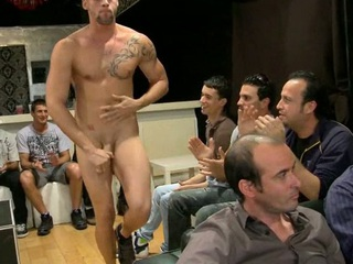 Sexy youthful lad engulfing stripper dick at party