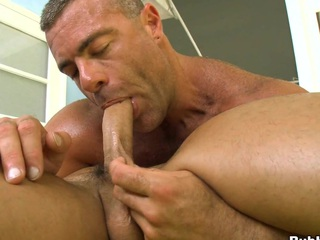 Horny blowjob from a truly grotesque muscular boyfriend, enjoy the show