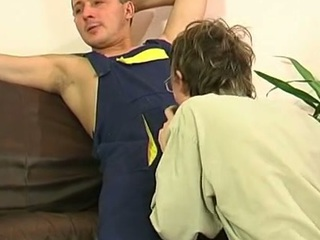 Unconcerned plumber uses his beefy pipe to fill a straight guy's frowardness together with firm booty