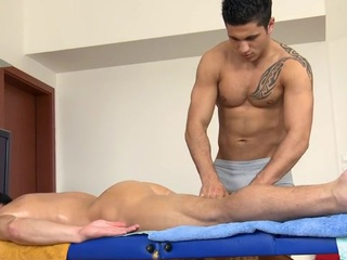 Sexy hunk gets his constricted anal waterway explored wide of masseur