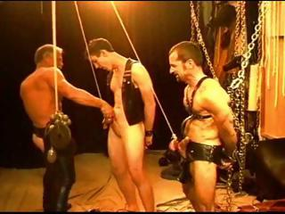Gay dudes are tied with reference to and strung with reference to as their masters pangs them