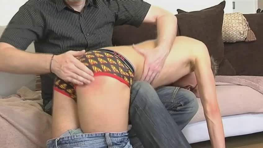 Skinny detached dude gets bent over mature hunks knee and spanked