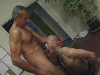 old man fuck guy down office