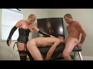 Twink gets on Easy Street on hither a titillating dominating female and a stallion